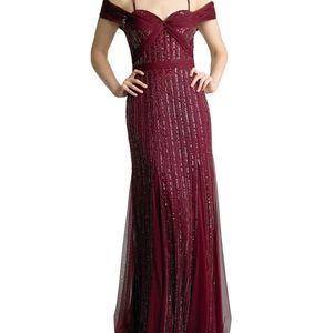 Sequin Cold-Shoulder Godet Column Gown